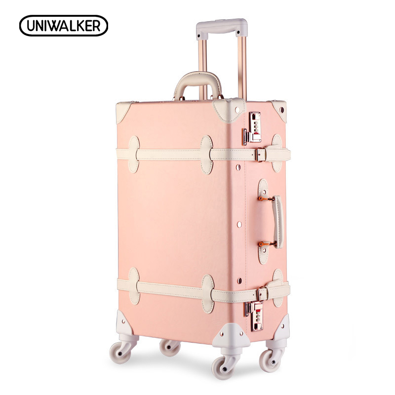 UNIWALKER 2022 24 26 Drawbars&PU Leather Retro Luggage Suitcase Travel Trolley Case Rolling Luggage Bags Suitcases On Wheels 20 26 dark green vintage suitcase pu leather travel suitcase scratch resistant rolling luggage bags with universal wheels