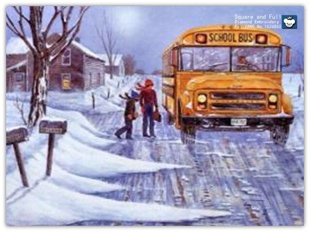 Зима снег, большой автобус, алмаз вышивка алмаз мозаика продажи алмазов мозаика полный передач Площадь буровые картины из стразов