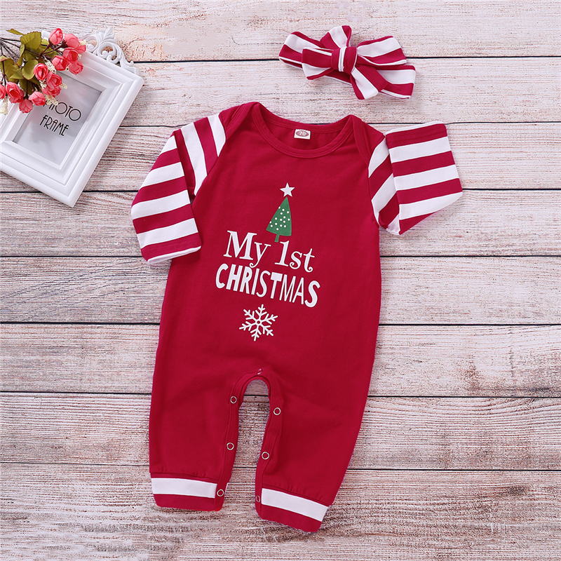 Christmas Newborn Baby Girls Striped   Romper   Headband Xmas Outfits Letter Clothes 0-2T