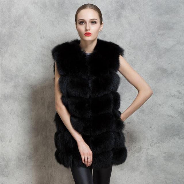 2016 Nueva moda de invierno y primavera de las mujeres de imitación de piel de zorro chalecos Todo cáscara piel cappa abrigos cabo Slim fit larga sección chalecos felpa