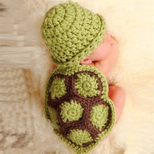 Green Turtle Baby Hat with Cape Set Children Photography Props Newborn Baby Crochet Animal Beanie Costume Set(China)