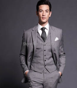 Custom-Suits Top-Quality Two-Buttons Double-Vent 3-Pieces 100%Wool Lapel Grey Notch