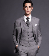 Top Quality 100% wool grey notch lapel two buttons double vent 3-pieces custom suits for men