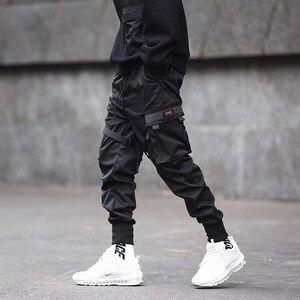 Image 3 - Homens multi bolso elástico cintura design harem pant homem streetwear punk hip hop calças casuais corredores masculino dança calça gw013