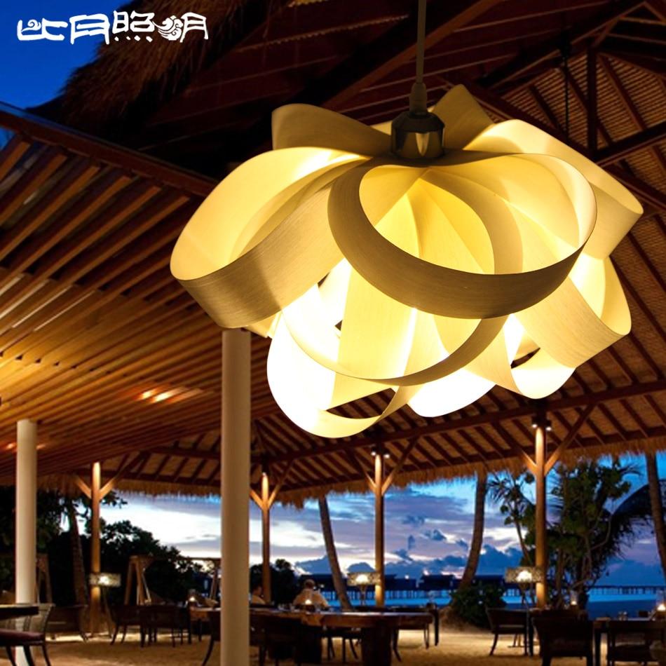 Modern Copper Ring Led Pendant Lighting 10758 Shipping: New 2014 Modern Wood Veneer Flower Lamps Personality Art