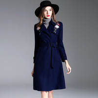 2017 European and American women's coat embroidery flowers long woolen coat