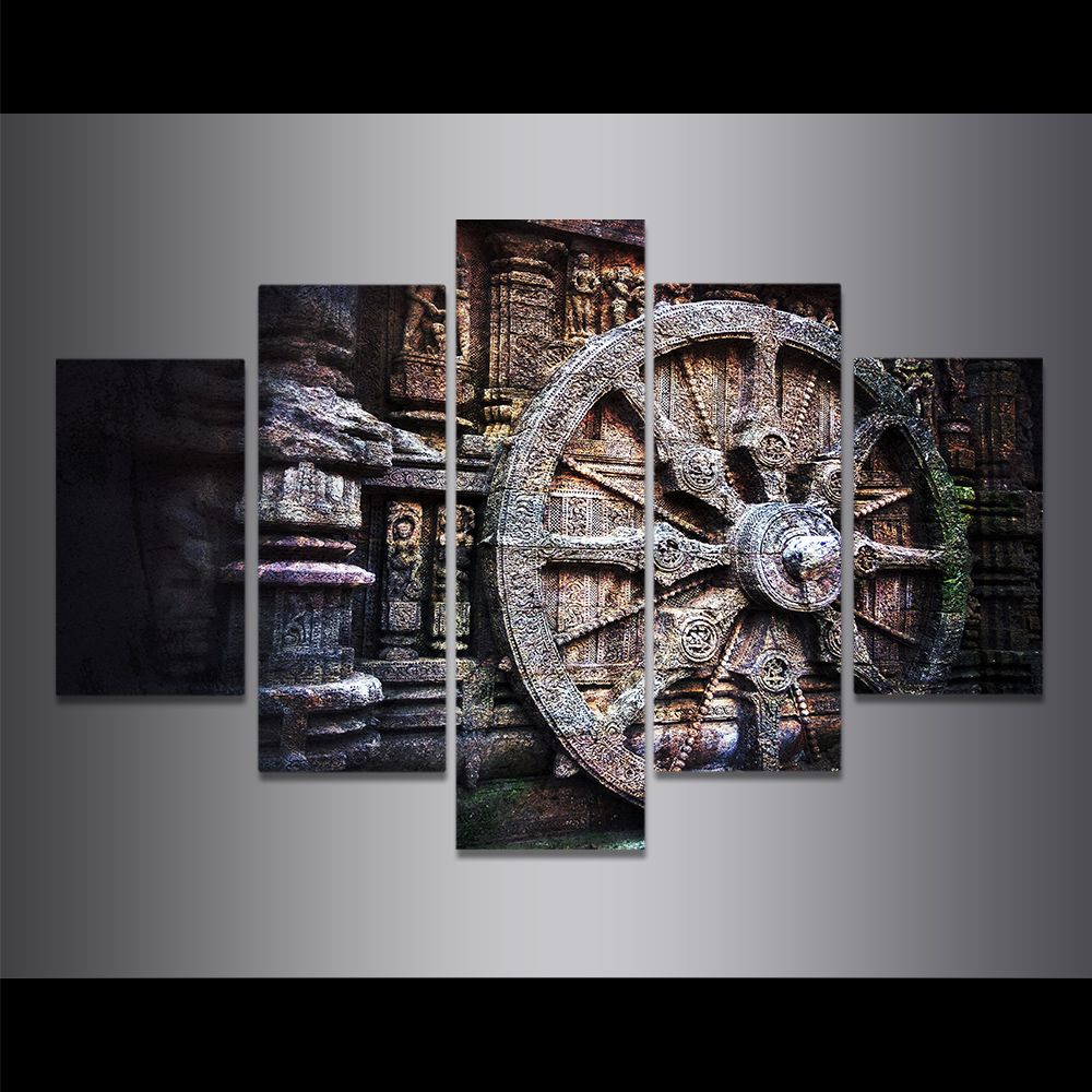 Unframed Canvas Painting Ancient Stone Carving Wheels Buddha Picture Prints Wall Picture For Living Room Wall Art Decoration