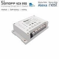 Yeni ITEAD Sonoff RF Wifi Anahtarı 4CH AC 110 V 220 V DC 5 V 12 V 24 V 433 mhz Uzaktan Kumanda Anahtarları 10A Amazon Alexa Için Akıllı Ev