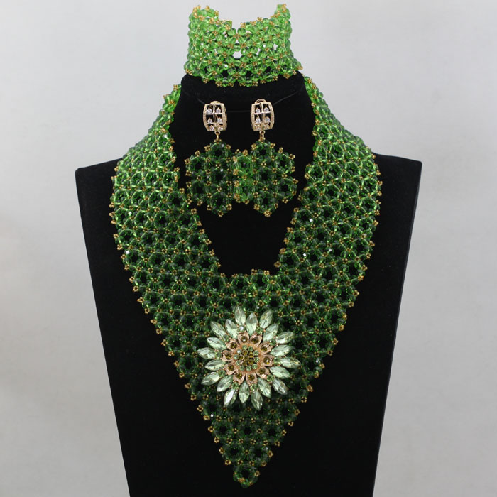 Shining Grass  Green  Beads Jewelry Sets Amazing  African Wedding Beads Handmade  New Arrival  Free Shipping hx305