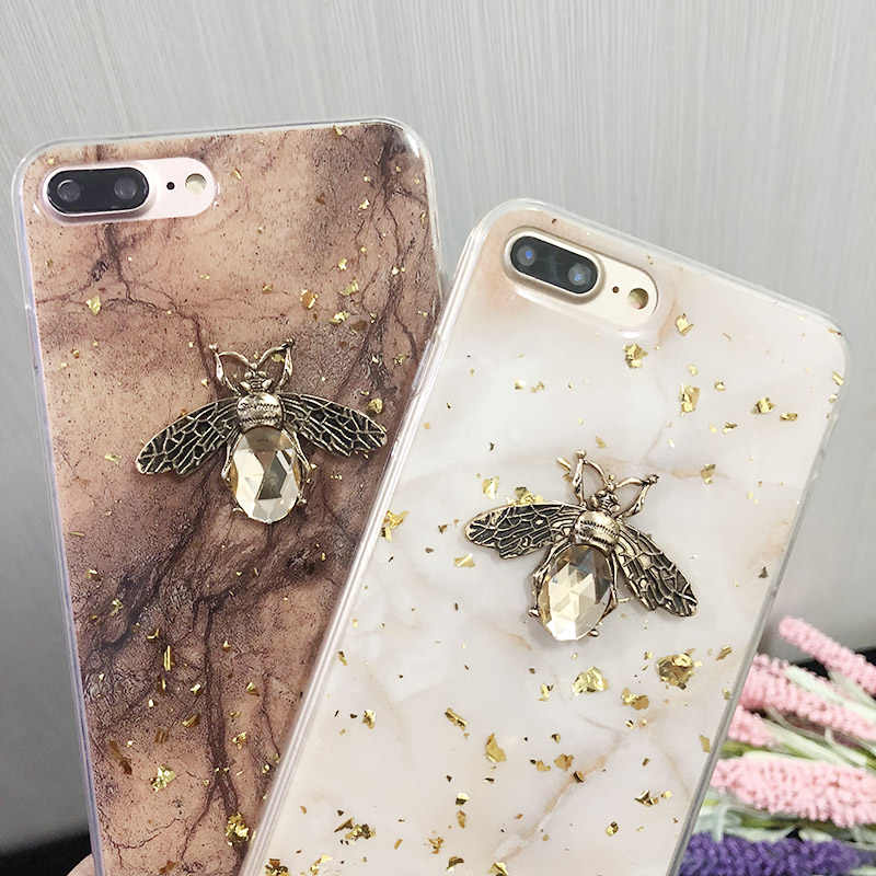 Goudfolie Bling Marmer Gevallen Voor Iphone X Xs Xr 11 Pro Max 3D Bee Soft Tpu Case Cover Voor iphone 7 8 6S Plus Glitter Back Fundas
