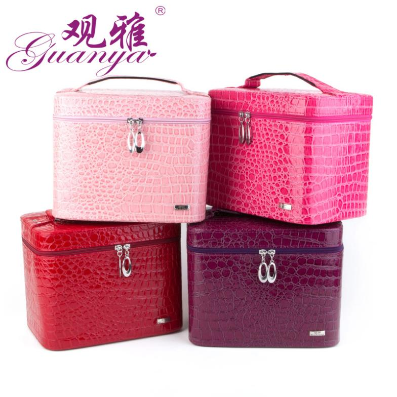 купить Luxury PU Leather Crocodile Grain Jewelry Box Makeup box Fashion Jewellery Storage Box Packaging Case Organizer