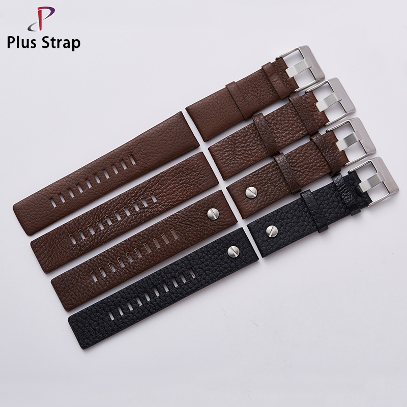 Plus Strap Fashion Watchband with Rivet Watch Strap Wristband Belt Bracelet for Diesel Watch DZ7313 DZ7322 DZ7257 Replacement durable 20 24 26 27 28 mm soft watch bands for diesel watch dz7313 dz7322 dz7257 women s men s watch straps with sliver buckle