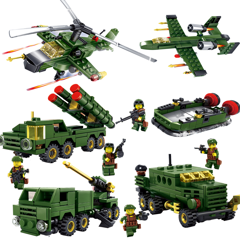 6sets/lot Military Educational Building Blocks Toys For Children Gifts Army Cars Planes Helicopter Weapon Compatible With Legoe enlighten 1406 8 in 1 combat zones military army cars aircraft carrier weapon building blocks toys for children