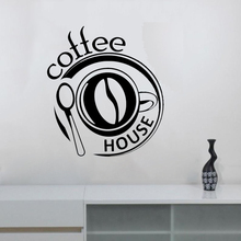 Coffee Wall Decal Window Vinyl Sticker Modern Cafe Logo Art Decor Bar Shop Stickers Dinning Room Kitchen Mural ZW460