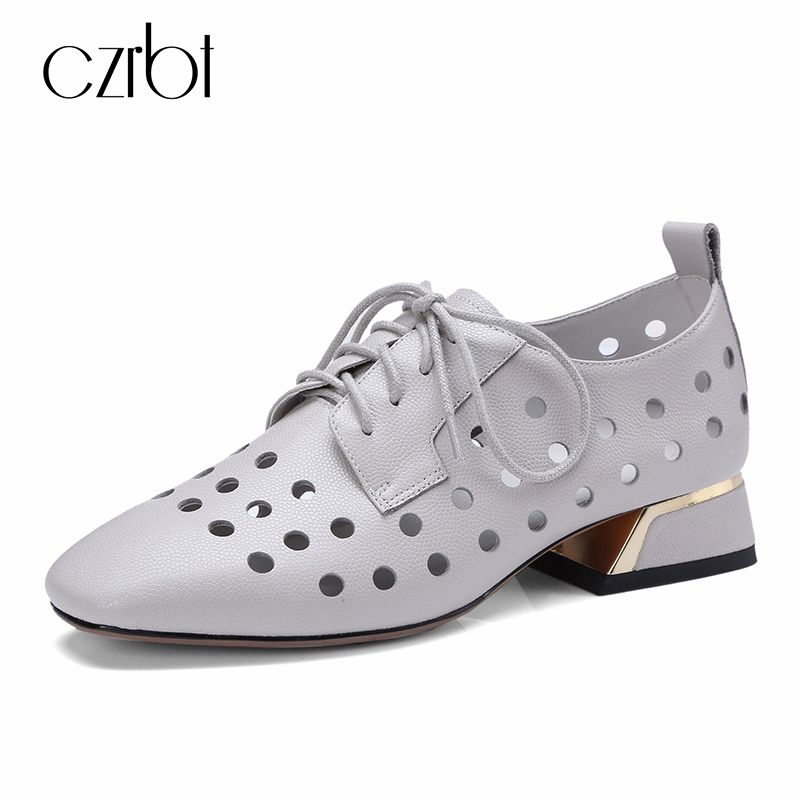 CZRBT 2018 Women Flat Shoes Spring Autumn Genuine Leather Shoes Lace-Up Square Toe Cross-tied Gray White Casual Shoes Women asumer white spring autumn women shoes round toe ladies genuine leather flats shoes casual sneakers single shoes