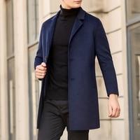 New Spring&Autumn Men's Woolen Coat Warm Business Trench Coat Windproof Slim Pea Coat Casual Jackets Wool Coat Windbreaker A