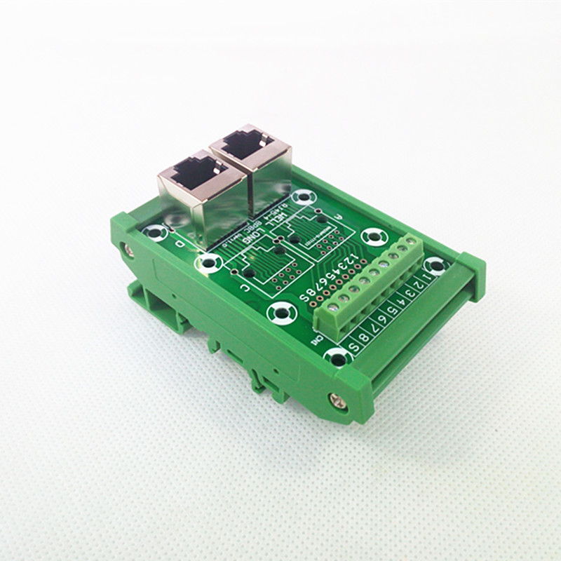 RJ45 Ethernet Connector  Breakout Board w// LED Screw terminals Spring