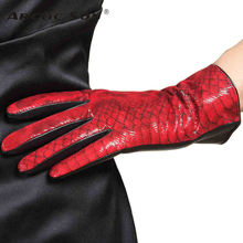 Women Genuine Leather Gloves Colorful Goatskin Touchscreen Winter Plus Velvet Driving L167NC2