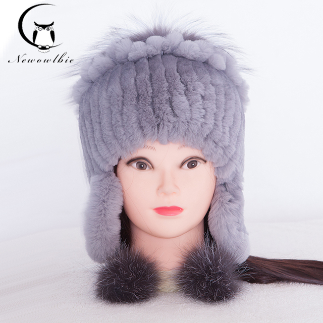 New Fur Hat For Women Winter Rex Rabbit Fur Hat Ear Protector Caps knitted Hats Gray Wholesale Winter Hat With Fashion Style