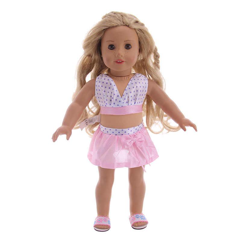 فستان لطيف من LUCKDOLL ربطة عنق وردية مناسبة 18 بوصة أمريكي 43 سنتيمتر إكسسوارات ملابس دمية أطفال ، ألعاب للبنات ، جيل ، هدية عيد ميلاد