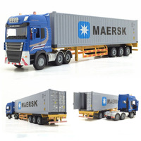 1:50 Scale Alloy Metal Truck Trailer Container Truck High Simulation Diecast Model Engineering Vehicle Toy Gifts For Kids