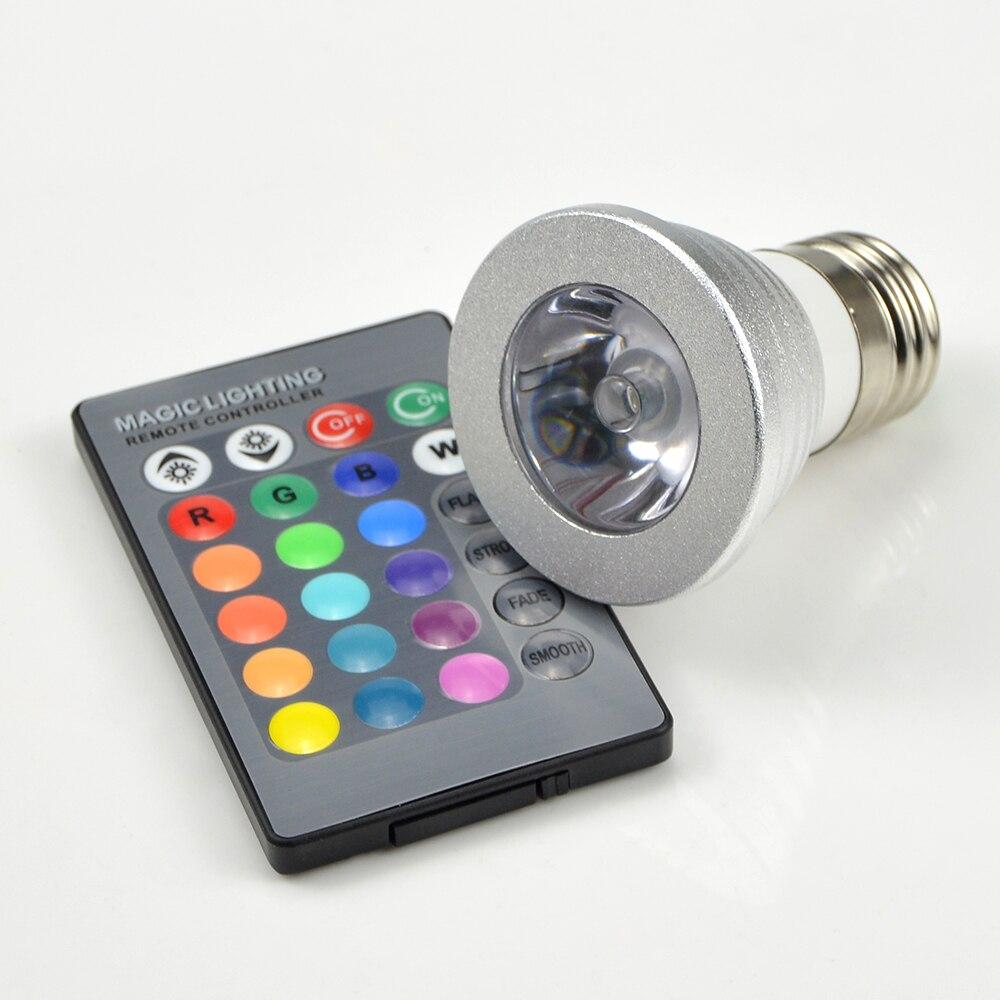 1PC 16 Colors 3W RGB LED Lampada bulb E27 220V 110V LED Spotlight lamps Dimmable magic Holiday     -> Lampada Led Rgb