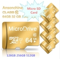 brand 2016 New Real Capacity High Speed Gold Gift 32GB 64GB 128GB 256GB 512GB Memory Card TF Card Micro SD Card Hot !!