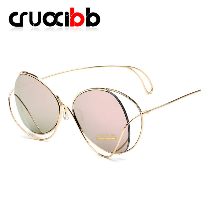 9e4305993e6ab CRUOXIBB Stylish Hollow Sunglasses Women Designer New Mirror Clear Lens Cat  Eye Sun Glasses Sexy Shades Female Hot UV400 Eyewear