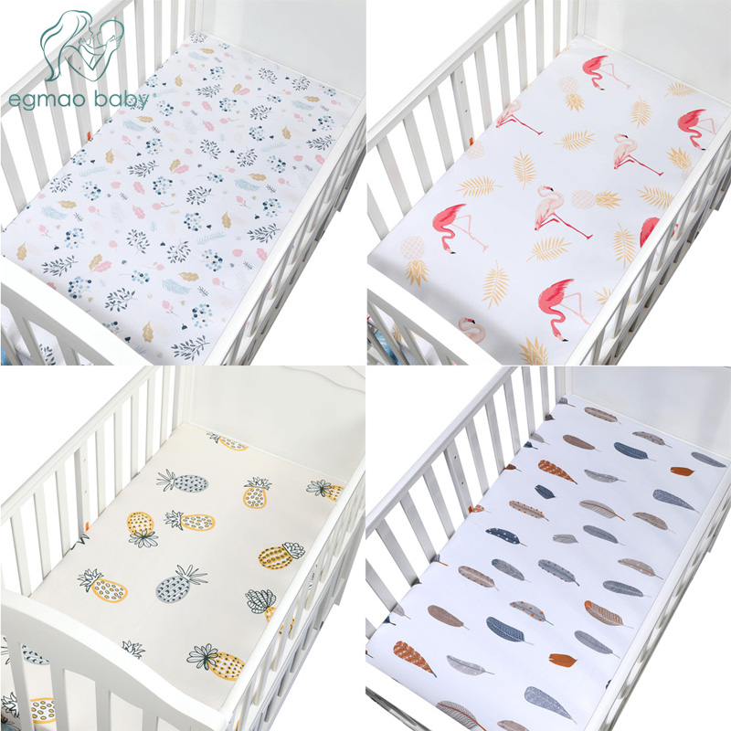 100% Cotton Crib Fitted Sheets Soft Baby Bed Mattress Protectors Covers Cartoon Newborn Toddler Bedding Set Kids Mini Cot