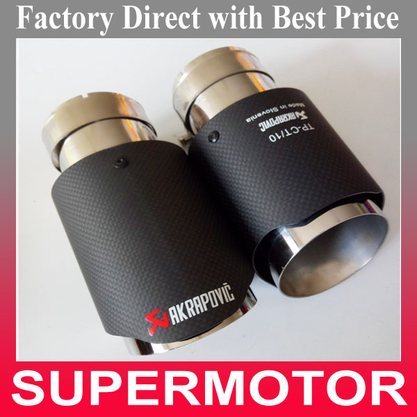 Factory Free shipping 2 Pcs 63mm inlet 2 48 inch Carbon Fiber stainless steel Auto akrapovic