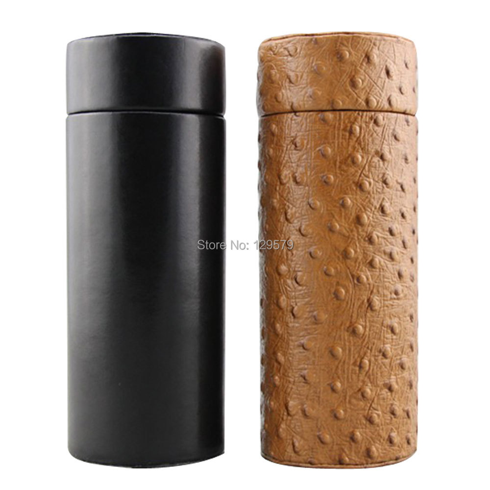 COHIBA Gadgets Leather Cedar Wood Lined Cigar Tube Portable Jar Mini Humidor Inside with Long Humidifier