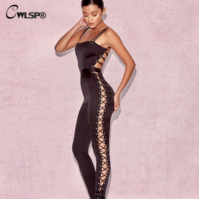 54526f9e8e CWLSP Women Sexy Side Lace Up Satin Jumpsuit for Women 2018 Black Open back  Rompers Overall