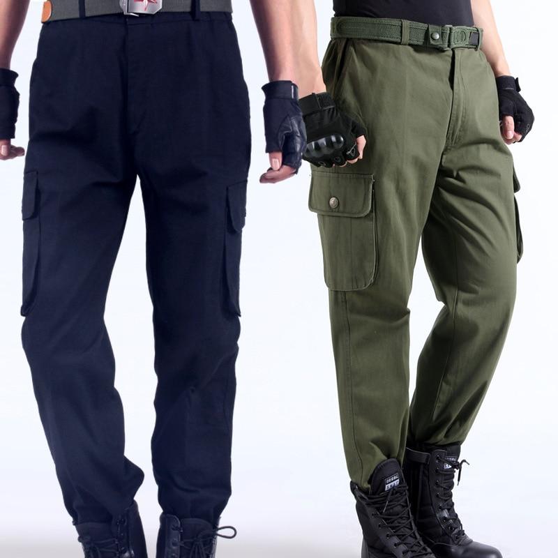 Trabajo pantalones hombres multi bolsillos pantalones de trabajo de carga gran tamaño suelta estilo trabajo desgaste-resistencia soldadura reparador