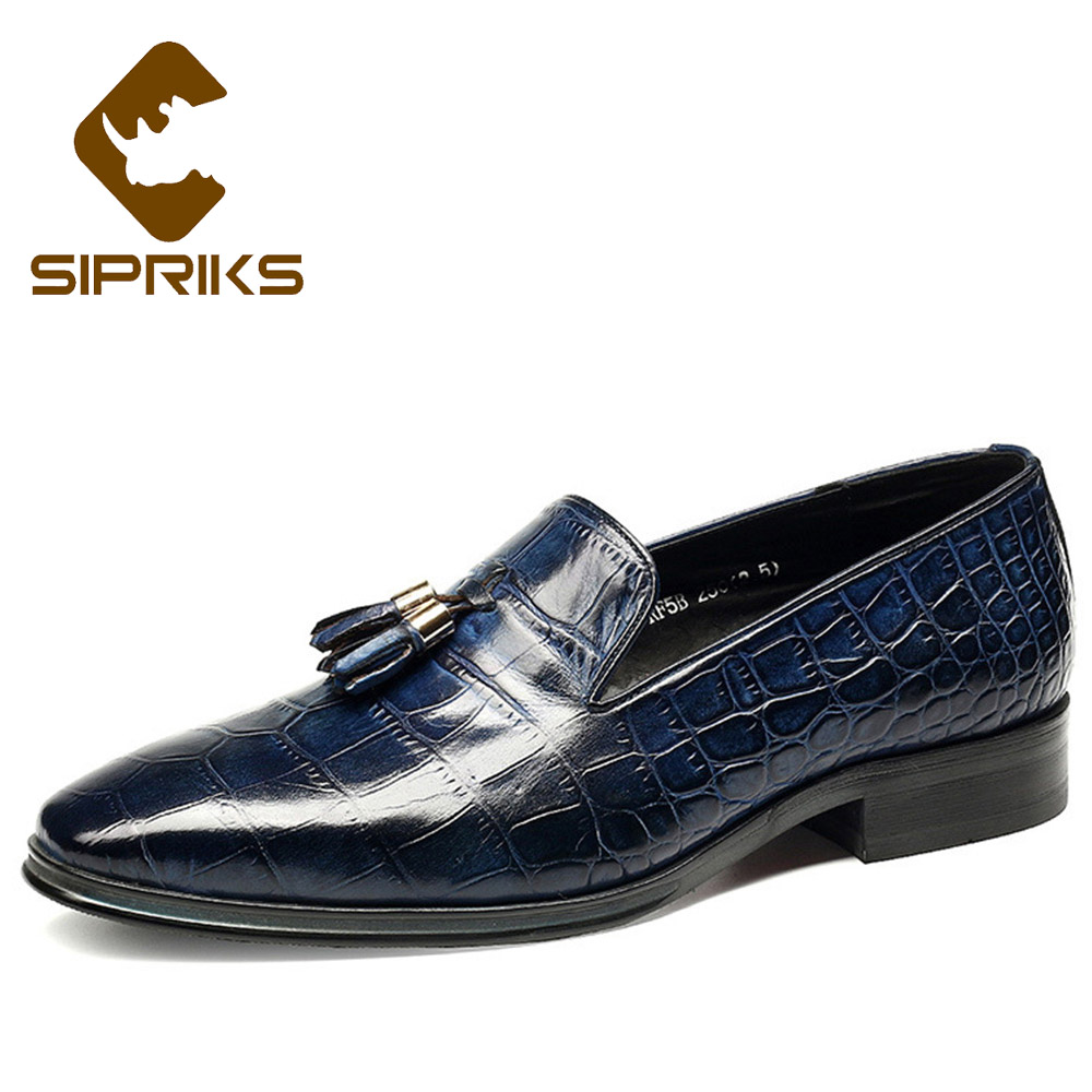 Shoes Sipriks Blue Alligator Skin Shoes For Men Slipon Leather Tassels Loafer Breathable Formal Leather Shoes Office Business European High Quality Materials Formal Shoes