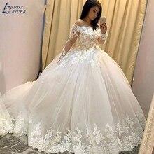 ZL1044 новое бальное платье с открытыми плечами и длинными рукавами, кружевные свадебные платья с цветами, свадебное платье, платье знаменитостей, vestido De Noiva robe de mariee