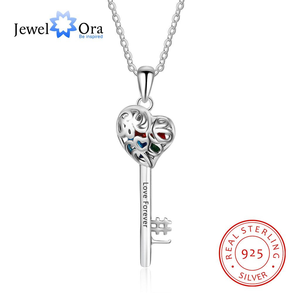 Key Shape With Birthstone Personalized Gifts Engrave Name 925 Sterling Silver Pendant Necklace Women Jewelry JewelOra