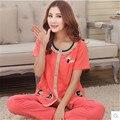 Mulheres pijamas de Verão de manga Curta + Calça Conjuntos de Pijama Das Senhoras do Algodão Sleepwear Salão das Mulheres Mãe Conjuntos Femininos 3XL