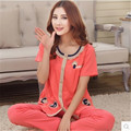 Pajamas Women Summer Short sleeve+Trousers Cotton Ladies Sleepwear Women's Lounge Mother Pajama Sets Conjuntos Femininos 3XL