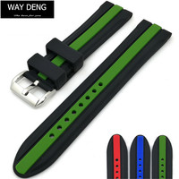 Way Deng Women Men Classic Sports Silicone Rubber Watchband Striped Color 20mm 22mm Pin Buckle Wrist Watch Band Strap Y142