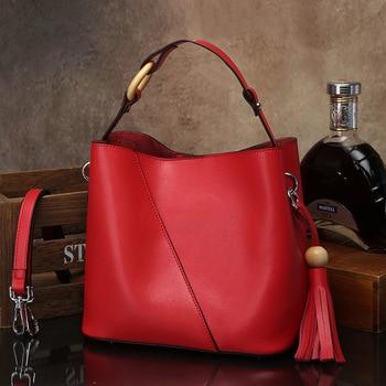 Women Vintage Cow Split Leather Handbag Bucket Bag Tassel Fashion Shoulder Bag Girl Messenger Bag Women Tote Lady Crossbody Bag