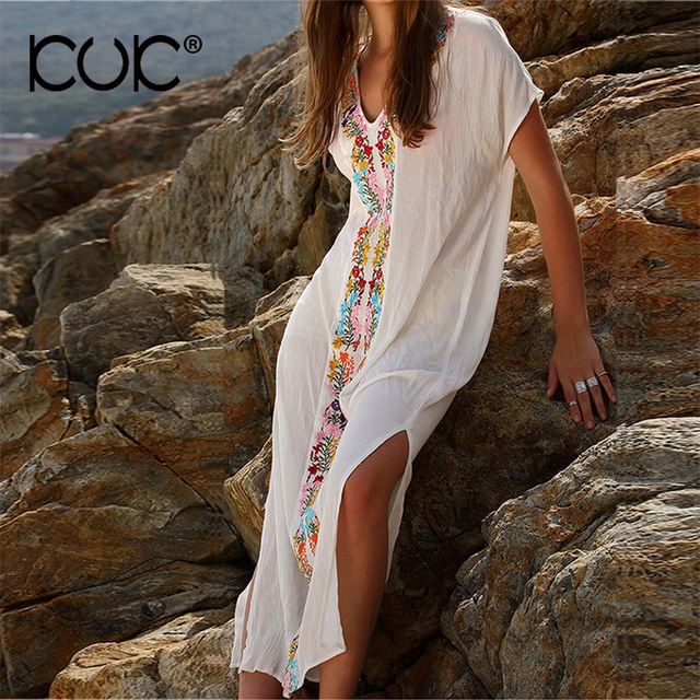 Long Summer Dress Women Short Sleeve Embroidery Bohemian Vestido Hippie Boho Chic Beach Dress Tunic A283