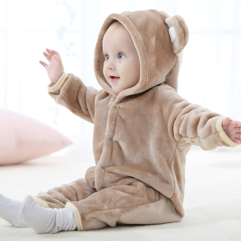 Cute Autumn Winter Baby Rompers Warm Long Sleeve Baby Clothes Coral Fleece Girls Clothes Cartoon Jumpsuit Baby Boy Clothes R027 warm thicken baby rompers long sleeve organic cotton autumn