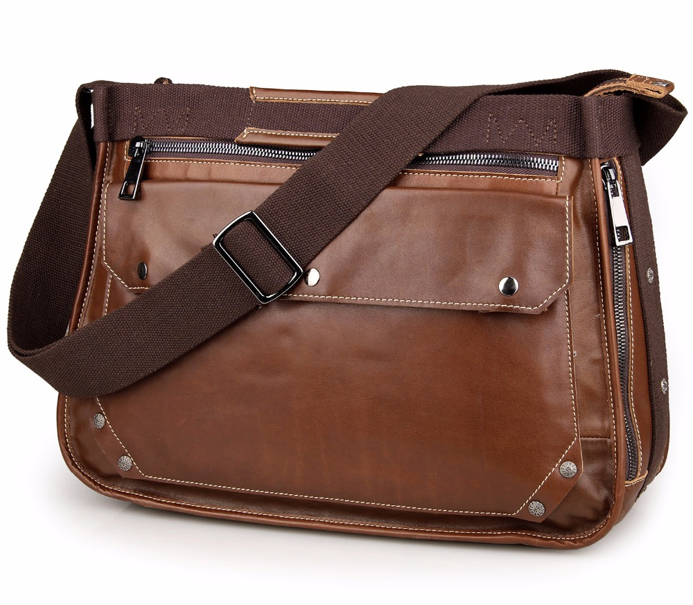 Augus Simple Style Messenger Bag Fashion Cross Body Bag Black / Brown High Quality Cow Leather Mens Bag 7323B/7323A