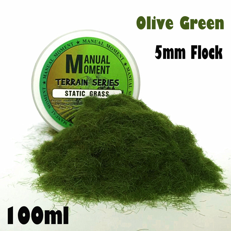 Miniature Scene Model Materia Olive Green Turf Flock Lawn Nylon Grass Powder STATIC GRASS 5MM Modeling Hobby Craft  Accessory