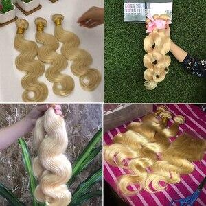 Image 5 - BEAUFOX – Mèches de cheveux naturels brésiliens, extension capillaire de qualité Remy, avec ondulation, fermeture en dentelle, matière humaine, coloris blond 613, vendu par 3