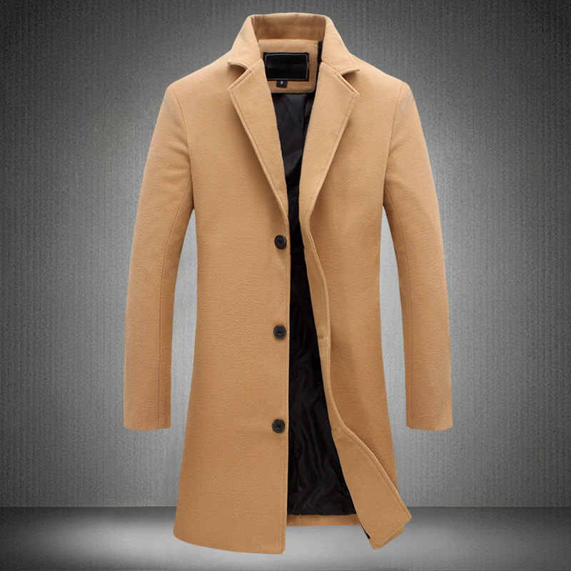Mrmt 2019 브랜드 남성 자켓 긴 솔리드 컬러 싱글 브레스트 트렌치 코트 캐주얼 오버 코트 남성 자켓 겉옷