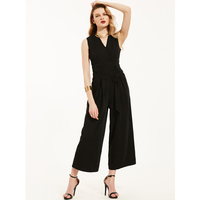 Kinikiss 2017 Summer New Women Jumpsuits Fashion Brief Black Solid Sashes Decorated Straight Ankle Length Pants
