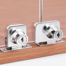 407 417 Single double door Glass Lock showcase Cabinet Push
