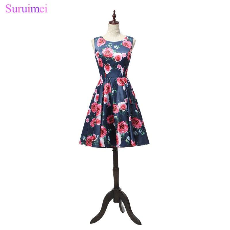 Robe de soirée manches courtes Robe De soirée Vintage imprimé robes de soirée longues Floral genou robes De soirée robes