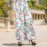 POWKAI Повседневное Цветочный свободные длинные шифоновые широкие штаны Для женщин 2018 новая мода высокое качество Классическая плоская резин